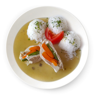 Plnená kuracia kapsa s byby mrkvou,fazuĺovým luskom na prírodno,ryža