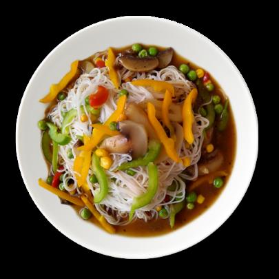 Vegetariánske ryžové rezance so zeleninou