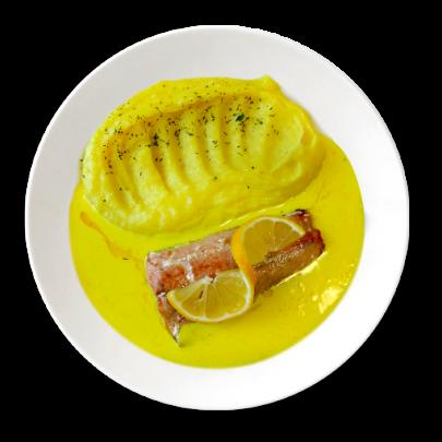 Losos na citronovo-smotanovej omáčke,zemiakové pyré