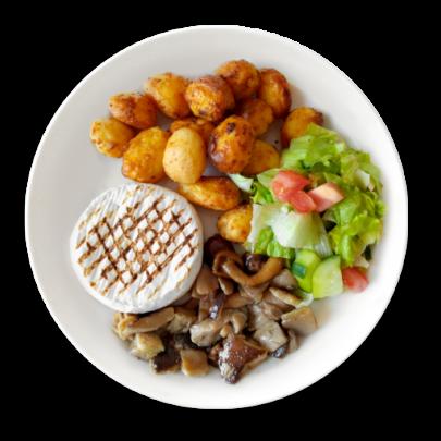 Grilovaný encián na hubách,opekané zemiaky,šalátik
