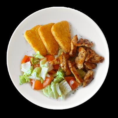 Kurací gyros,zeleninový šalátik,zemiakové rosty,cezar dressing