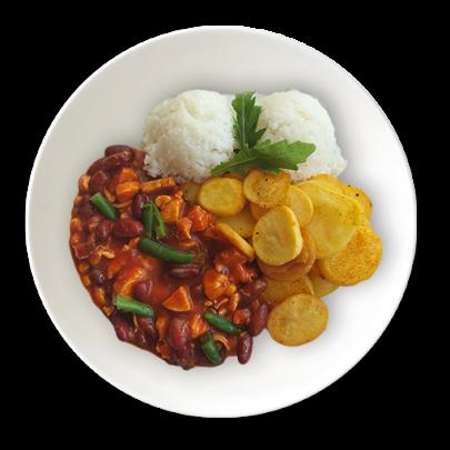 Chilli con carne bravčové,ryža,zemiakové plátky