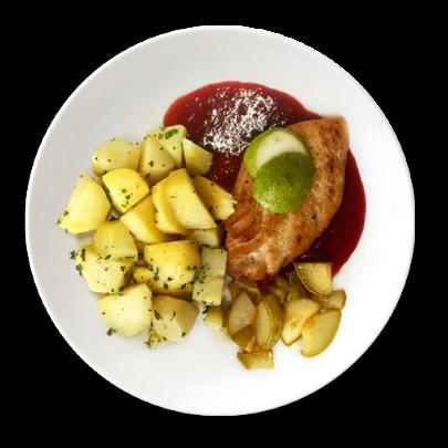Grilovaný kurací steak s pošírovanou cviklou, karamelizované hrušky s medom a zemiačky s maslom