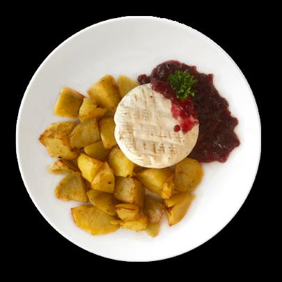 Grilovaný hermelín s brusnicovou omáčkou, opekané zemiaky