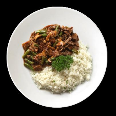 Hovädzí stroganov a basmati ryža