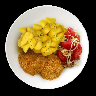 Karfionádky, zemiačky mastené maslom, paradjkovo-pôrovy šalát