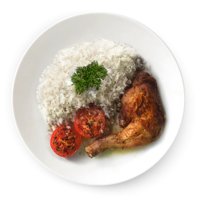 Kuracie pečené stehno s ryžou a grilovanými paradajkami
