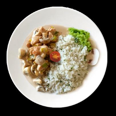 Kuracie soté, na šampiňónovo-pórovej omáčke, dlhozrná ryža