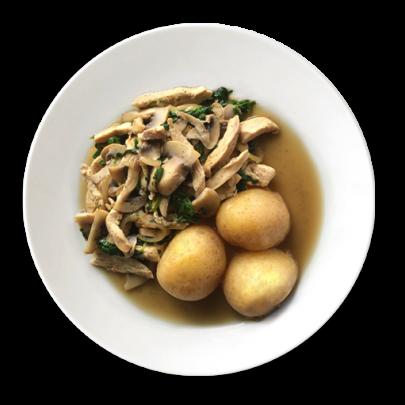 Kuracie rezance na šampiňónoch, zemiaky v šupke