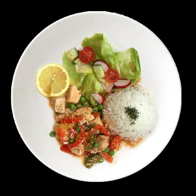 Medovo-sezamová kuracinka so zeleninou a ryžou