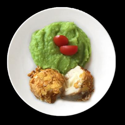 Le Gordon Bleu – Kuracie prsia obaľované v cornflakes, plnené šunkou a syrom, hráškové pyré
