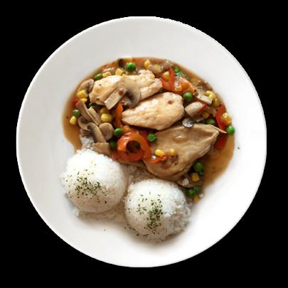 Medajlónky z kuracích pŕs na zeleninke s basmati ryžou