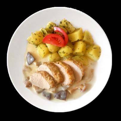 Panenka v orechovo – syrovej kruste na hubovej omáčke so zemiakmi a bylinkami