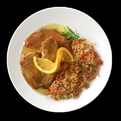 Quinoa so zeleninkou, rybou Tilapia a pomarančom