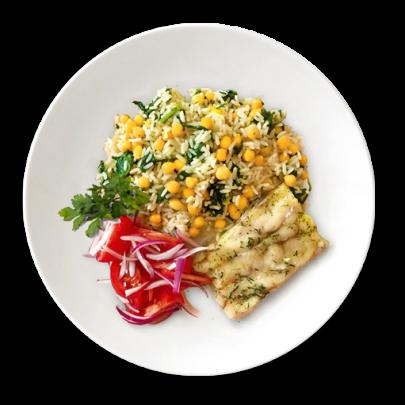 Rybie filé s ryžovým pilafom