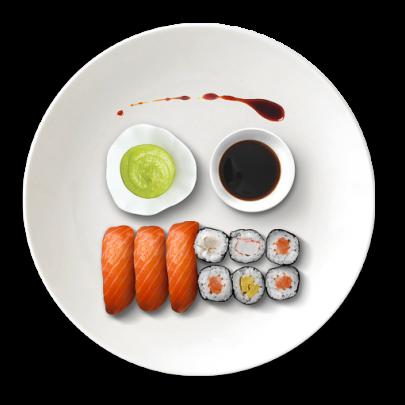 Sushi set s wasabi, sojovou omáčkou a zázvorom