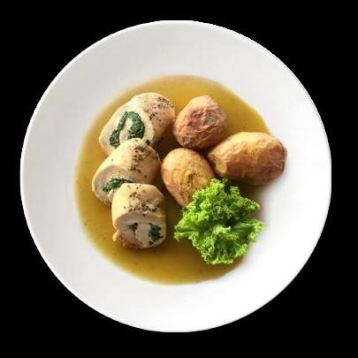 Kurací závitok plnený špenátom, zemiaky v šupe
