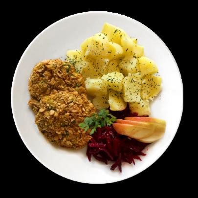 Zeleninové karbonátky obaľované v CornFlakes, varené zemiačky, cviklový šalát so zázvorom a jabĺčkom
