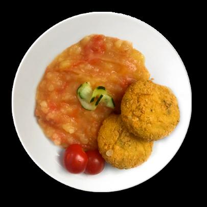 Karfiolovo-sýrove guľky, zemiaková kaša s blanžírovanými paradajkami, jogurtový dressing