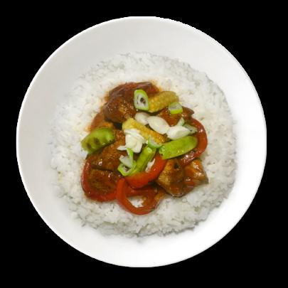 Bravčová panvička, opečená zeleninka, ryža