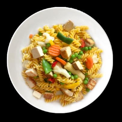 Vegetariáneske Fusilli cestoviny s údeným tofu a syrom Parmezan