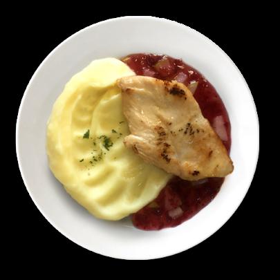 Kuracie prsíčka s brusnicovo-hruškovou omáčkou s kúskami, zemiaková kaša