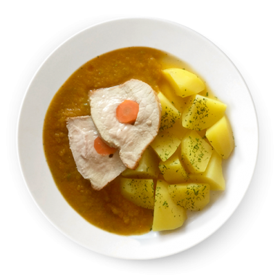 Karé plnené mrkvou, varené zemiaky a omáčka z čerstvej zeleniny