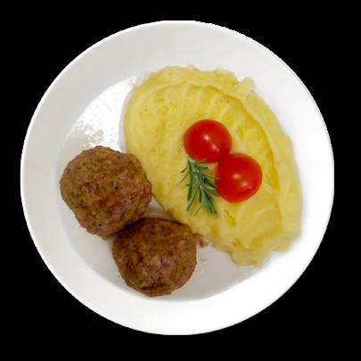 Švédske guľky z bravčového stehna, so smotanovou polevou, zemiaková kaša