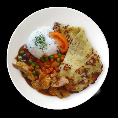 Zemiaková placka plnená bravčovým mäskom na barbecue omáčke so zeleninkou a ryžou