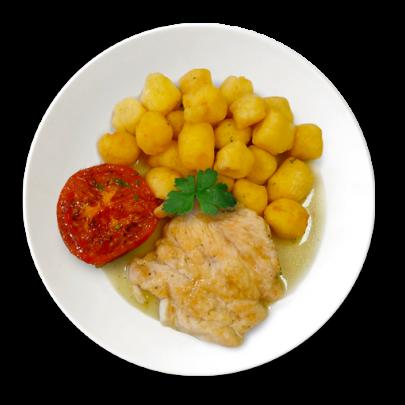 Kuracie prsíčka s grilovanou paradajkou a praženými domácimi bezlepkovými zemiakovými nočkami