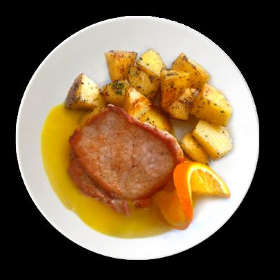 Bravčový steak na pomarančovej omáčke,opekané zemiaky