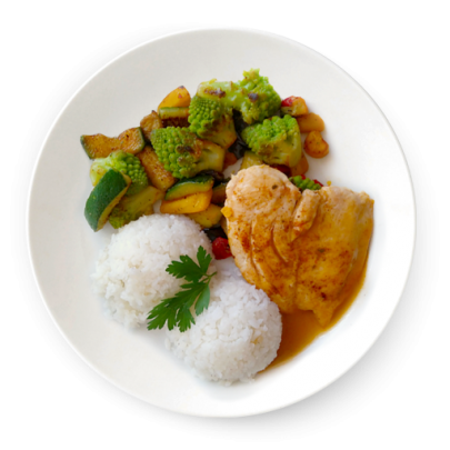 Kuracie prsia na grilovanej zeleninke, ryža