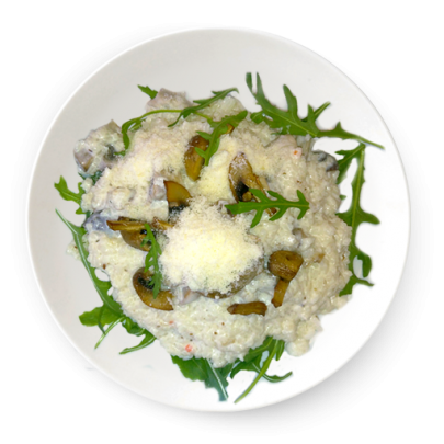 Hubové rizoto s rukolou a parmezánom