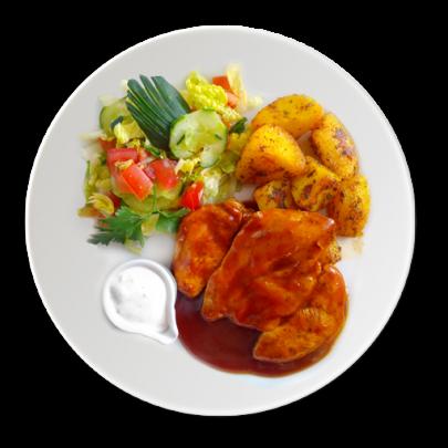 Barbeque kuracinka,zeleninový šalát s dresingom,opekané baby zemiaky