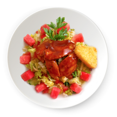 Zeleninový šalát s červeným melónom,marinádovaná kuracinka