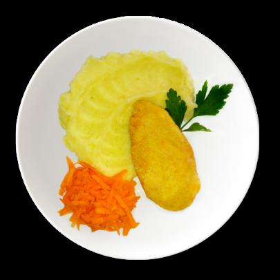 Fit bezlepkový kurací rezeň ,zemiaková kaša a mrkvový šalát