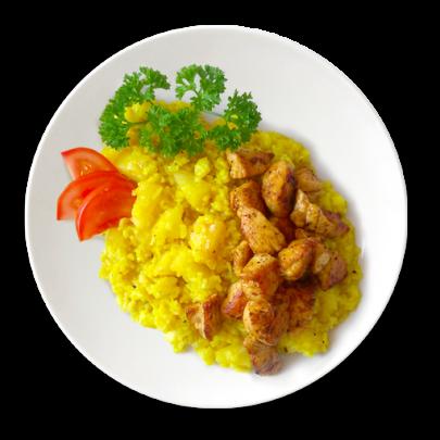 Kari rizoto s kúskami ananásu a kuracím mäsom